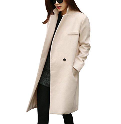Damen Lange Mantel Trenchcoat Übergangsjacke Faux Wollmantel Parka Coat Outwear L Beige