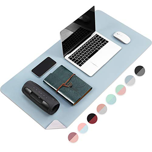 "Large Desk Pad Protector, Multi-Color Double Sided Mouse Pad, Premium PU Leather Desk Blotter, Waterproof Surface, Desktop for Gaming, Writing, Home Office Work (Sky Blue/Silver, 31.5"" x 15.7"")"