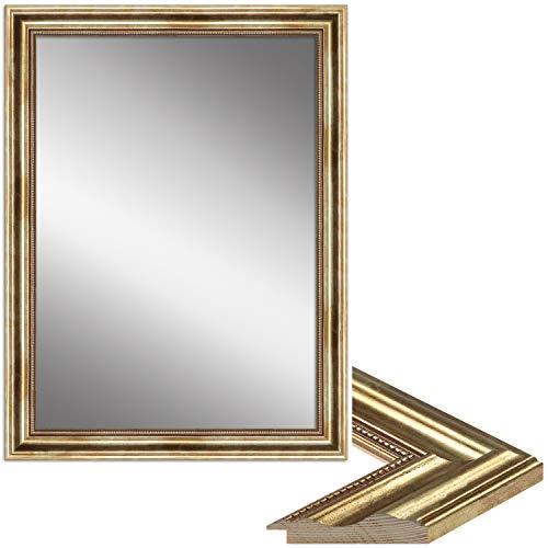 WANDStyle Spiegel Barock und Antik I Außenmaß: 80x110cm I Farbe: Gold I Goldener Wandspiegel aus Holz I Made in Germany I H550
