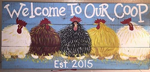 HRHREU Plaque personnalisée pour dmsullivan8 Chicken Coop 32 x 16 cm You Choose Colors and Words Poulet Sign Coop Farm FarmhouseBarnRa