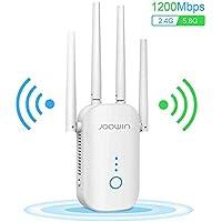 JOOWIN Repetidor WiFi 1200Mbps Amplificador Señal WiFi Banda Dual 2.4GHz y 5GHz Extensor de Red WiFi Enrutador Inalámbrico Punto Acceso (3 Modos, 4 Antenas, Puerto LAN/WAN)