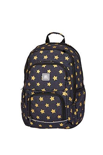 MYBAQ 400129537 Schulrucksack mit DREI Fächern mit Flitter Zibal Superstar Black