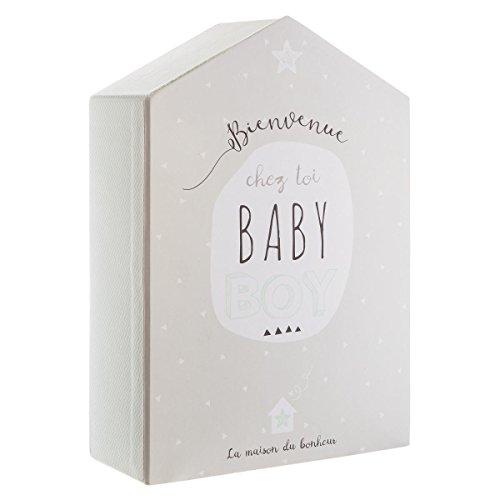 Coffret de naissance avec boite à souvenirs + cadre photo - Forme Maison - Coloris TAUPE et VERT Clair