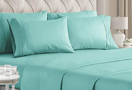 Queen Size Sheet Set - 6 Piece Set - Hotel Luxury Bed Sheets - Extra Soft - Deep Pockets - Easy Fit - Breathable & Cooling Sheets - Wrinkle Free - Comfy - Spa Blue Sheets - Queens Sheets - 6 PC