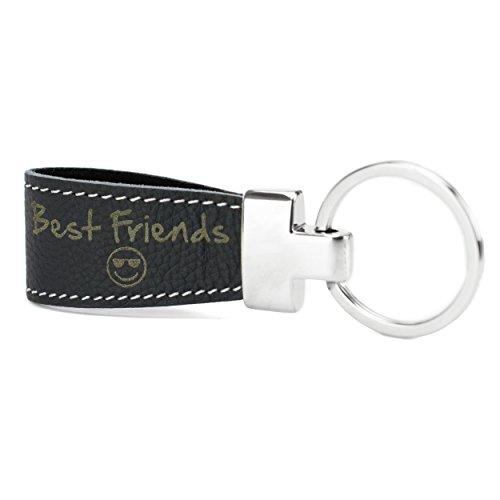 Sleutelhanger met gravure leer zwart voorgegraveerd voor vrienden: Best Friends