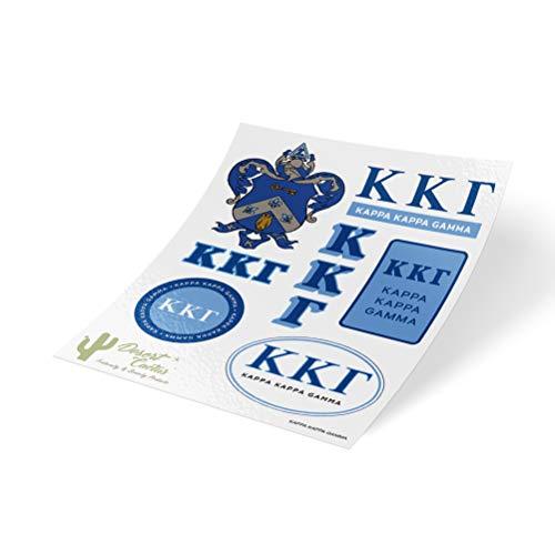 Kappa Kappa Gamma Standard Sticker Sheet Decal Laptop Water Bottle Car kkg (Full Sheet - Standard)