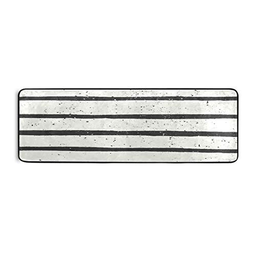 ATONO Black and Off- White Striped Vintage Abstract Repeat Long Anti-Fatigue Memory Foam Kitchen Floor Mats Carpet Rugs Non-Slip Rectangle 72''X24'' Runner Area Rugs for Kitchen Bathroom Livingroom