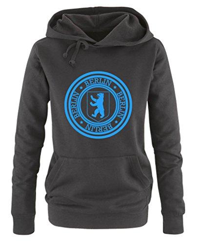 Comedy Shirts - Stadtwappen Berlin - Damen Hoodie - Schwarz / Blau Gr. L