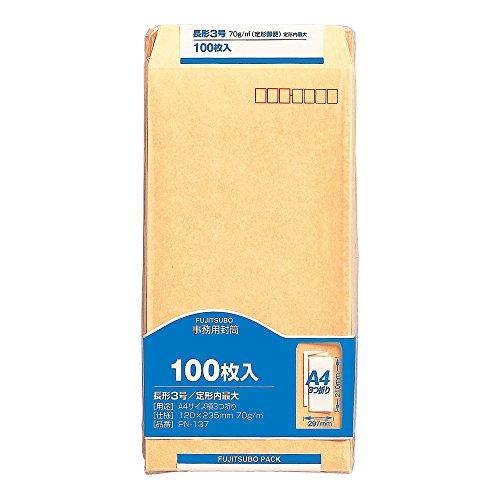 マルアイ 封筒 長形3号 長3 茶封筒 クラフト封筒 100枚 PN-137