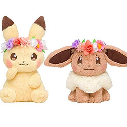 SKYLULU Pascua Pikachu Garland Pikachu Original Ibe Plush Toy Doll Doll 18cm Un par