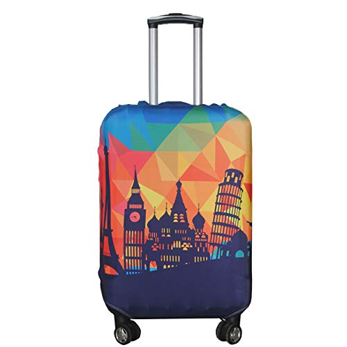 Explore Land Travel Luggage Cover Trolley Case Protective Cover Fits 18-32 Inch Luggage (Modern City, L(27-30 inch luggage))