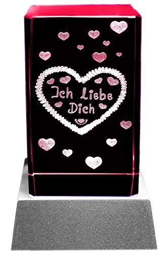 Kaltner Präsente Stimmungslicht - Das perfekte Geschenk: LED Kerze/Kristall Glasblock / 3D-Laser-Gravur Herzen ICH LIEBE DICH