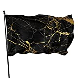 LAIUE Black Gold Marble Guard Flag 3x5ft Vivid Color for Inside/Outside Use | UV Protected Guard Banner Flags