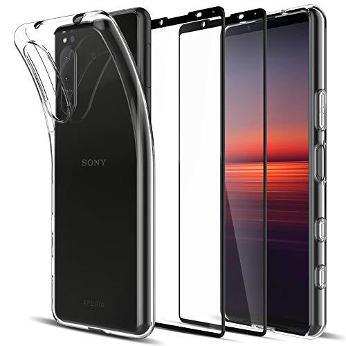 LK Kompatibel mit Sony Xperia 5 II Hülle mit 2 Stück Bildschirmschutz Schutzfolie, Klar Schutzhülle Transparent TPU Silikon Handyhülle Durchsichtige Hülle Cover, Crystal Clear