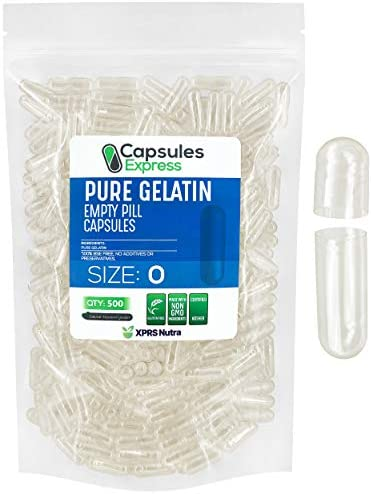 Capsules Express Size 0 Clear Empty Gelatin Capsules 500 Count Kosher and Halal Pure Gelatin product image