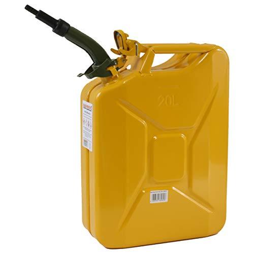 Stahlblechkanister gelb 20 Liter + Auslaufrohr starr Benzinkanister Kanister Set