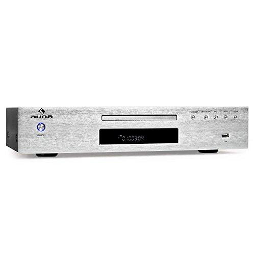 auna AV2-CD509-2.0 HiFi-CD-Player, MP3-fähiger USB-Eingang, UKW-Radioreceiver, 40 Senderspeicher, CD, CD-R, CD-RW, MP3, LCD-Display, koaxialer Ausgang, Fernbedienung, Edelstahl, Silber