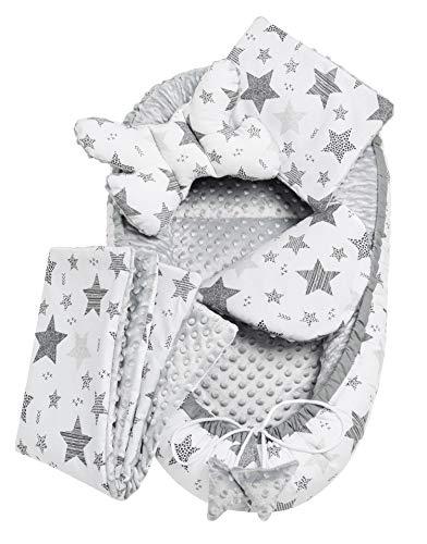 Solvera_Ltd 5tlg. Kuschelnest-Set MINKY inkl Babynest 90x50 herausnehmbarer Einsatz Flachkissen Krabbledecke Schmeterrling-Kissen für Babys 100% Baumwolle (Grau)