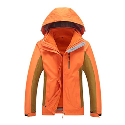 NYKK Frauen wasserdichte Jacke 3 in 1 Warm Raincoat mit Abnehmbarer Kapuze, herausnehmbaren Innen Fleece Regen Jacke Outdoor-Camping Wandern Berg-Jacken-Mantel (Color : Orange, Größe : XXL Size)