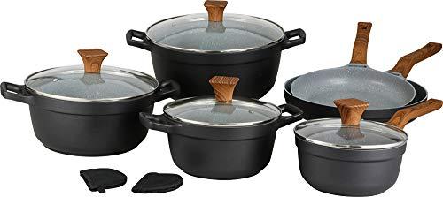 Schäfer | 10 Teilig | Topf-Set | Kochtöpfe | | Kochtopf-Set | Kochgeschirr-Set | Glasdeckel | für ALLE HERDARTEN | Mit Marmorbeschichtung | Spülmaschinenfest | Schwarz |