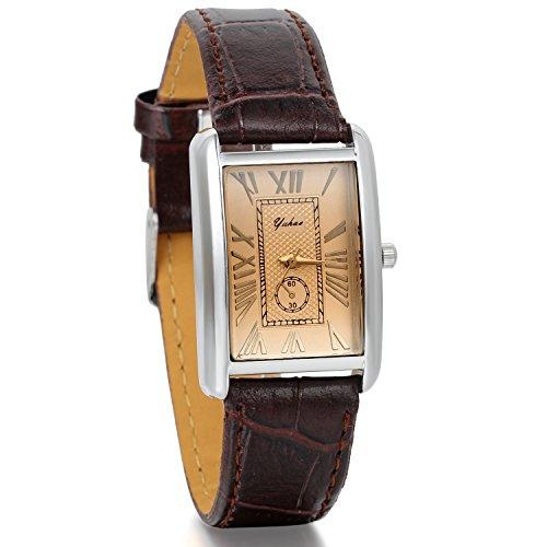 JewelryWe Herren Armbanduhr,Retro Leder Analog Quarz Uhr mit römischen ziffern Zifferblatt, Lieben partneruhren, Braun