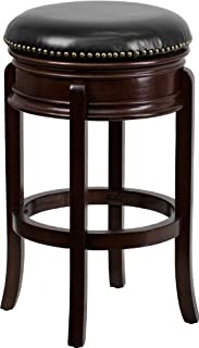 Flash Furniture 29'' High Backless Cappuccino Wood Barstool with Carved Apron and Black Leather Swivel Seat
