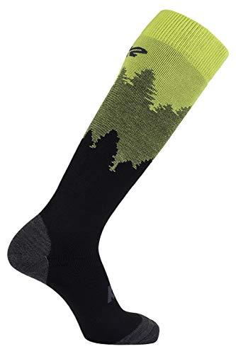 K2 Winter All Day Ski Socken, Black/Lime/Anthra Logo, 39-42