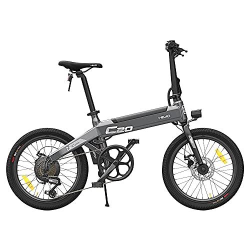 HIMO C20 Bicicleta eléctrica Plegable para Adultos, Bici eléctrica de montaña de 20' para desplazamientos, batería 10 Ah, Engranajes de transmisión de 6 velocidades, Bomba de inflado Oculta (Gris)