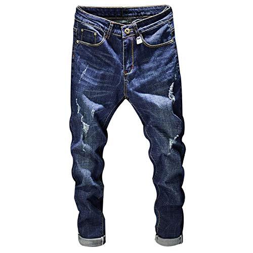 ShFhhwrl Vaqueros de Moda clásica Pantalones Vaqueros Rasgados para Hombre Estiramiento Azul Oscuro Slim Fit Moda High Street Des