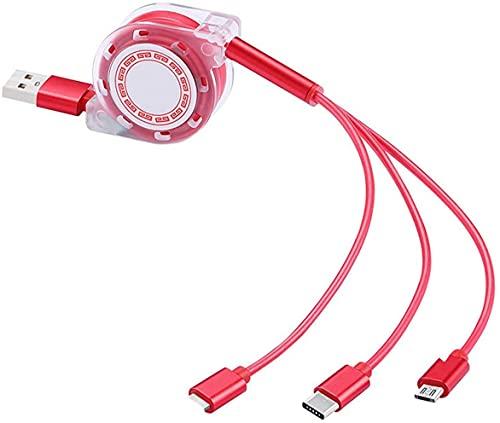 Cavo USB di Ricarica Rapida Retrattile, Aishtec 3 in 1 Cavo USB 4Ft/1.2Meters Compatible con iOS/Micro USB/Tipo C, Compatibile con TUTTI Telefoni, Cellulari, Tablet, PC, Laptop (Rosso)