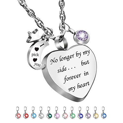 Dletay Cremation Urn Necklace with 12 Birthstones Heart Memorial Keepsakes Pendant Ashes Jewelry-No Longer by My Side, But Forever in My Heart