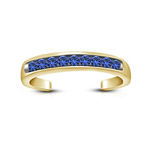 Moda Vorra 14K acabado oro 925plata azul zafiro Channel- Set ajustable toe anillo