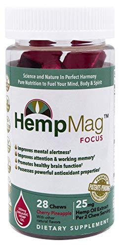 HempMag FOCUS - Organic Hemp Oil Extract (350 mg / 28 ct) - Magnesium - B-vitamins, Biotin, Niacin-Bound Chromium, Albion Boron (Glycinate) - Full Spectrum Support