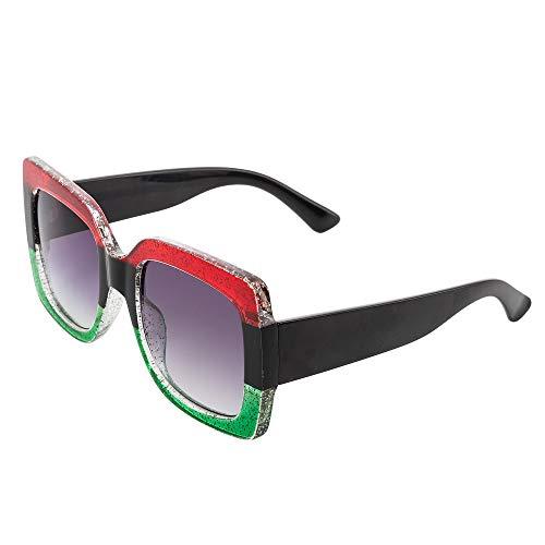LPUK Damenmode Quadrat Übergroßen Luxus Gradienten Objektiv Sonnenbrille Retro Vintage Großen Rahmen Eyewear