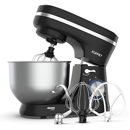 KUPPET Stand Mixer, 8-Speed Electric Mixer, Tilt-Head Food Mixer with Dough Hook, Wire Whip & Beater, 4.7QT Stainless Steel Bowl, Black