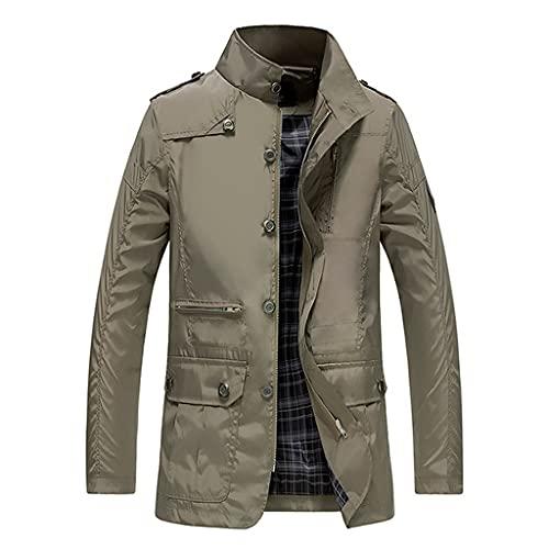 DSFEOIGY Classic Long Men Trench Coat for Thin Male Casual Zipper Windbreaker Streetwear Outerwear Baggy Varsity Jacket (Color : A, Size : 4XL Code)