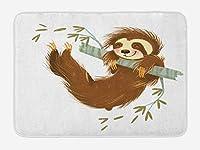 怠惰なバスマット、木の枝に揺れる幸せな陽気な動物手描き漫画イラストぬいぐるみバスルーム装飾マット滑り止めバッキング40cmx60cm
