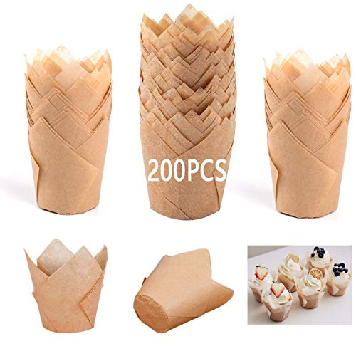 200Pcs Tulip Cupcake Liners, Natural Cupcake Muffin Liners Wrappers Greaseproof Muffin Baking Cups Cupcake Holder christmas cupcake liners for Weddings Birthdays Parties Baby Showers