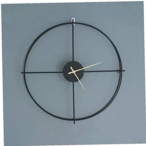 OMMO LEBEINDR Anillo Reloj de Pared Metal nórdico Retro Doble del Hierro Redondo Negro Colgante Reloj Silencio jardín al Aire Libre decoración casera Reloj