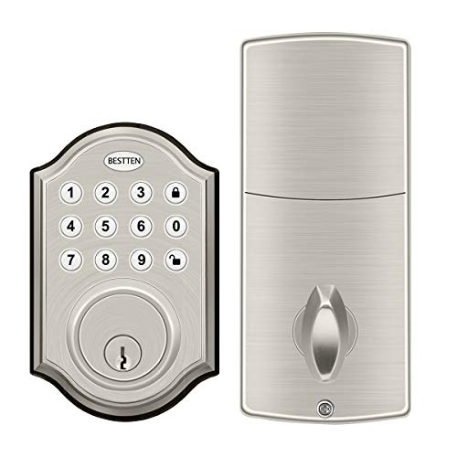 BESTTEN Digital Electronic Keypad Deadbolt, Motorized Lock, High Security, Traditional Style, Satin Nickel Finish