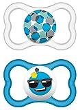 MAM 217111 - Ciuccio 'Air' in lattice per maschietti dai 16 mesi in su, confezione doppia, Colori/ modelli assortiti