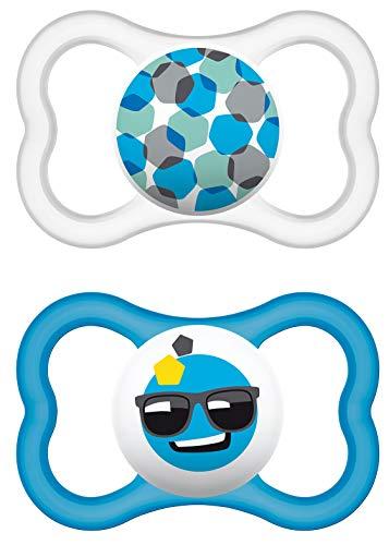 MAM Air Latex Schnuller im 2er-Set, extra leichtes und luftiges Schilddesign, zahnfreundlicher Baby Schnuller aus Naturkautschuk mit Schnullerbox, 16+ Monate, blau