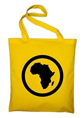 Styletex23 Afrika Kontinent Jutebeutel Baumwolltasche, gelb