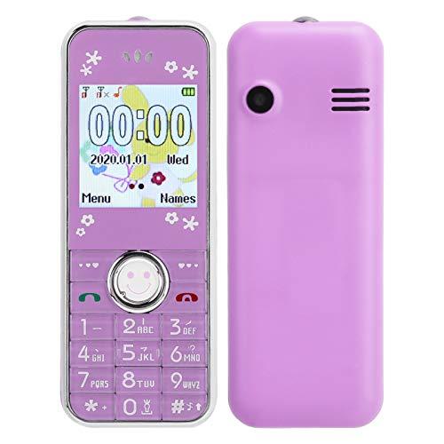 Annadue Mini teléfono móvil Bluetooth para niños y Ancianos, 32 MB + 32 MB Tarjetas Dobles de 1,44 Pulgadas Teléfono móvil de Doble Modo de Espera, con Funda Protectora, fácil de Llevar.(púrpura)