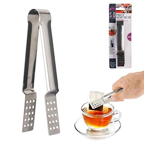 2er Set Edelstahl Teebeutelzange, Teebeutelpresse, Teebeutelquetscher Tee-Sieb-Zange, 2 Stück Hitzebeständige Teebeutelzangen, Tee-Zange für Teebeutel