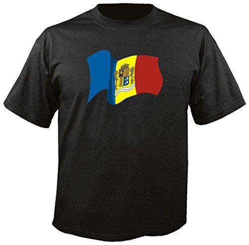 T-Shirt für Fußball LS6 Ländershirt XXL Mehrfarbig Andorra - Andorra mit Fahne/Flagge - Fanshirt - Fasching - Geschenk - Fasching - Sportshirt freie Farbwahl