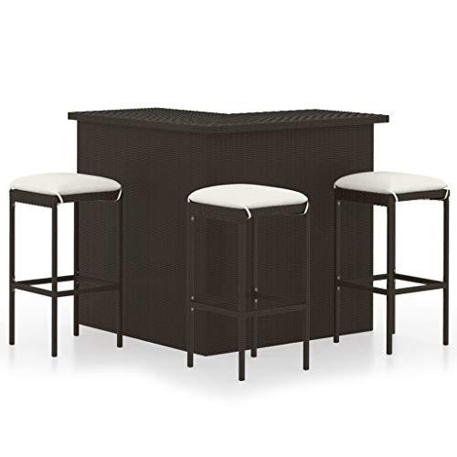 vidaXL Bar-Set für Gartenmöbel, 4 Stück, Sitzkissen, Tisch, Terrasse, Bistro, Möbel, Rattan, Kunststoff, Braun