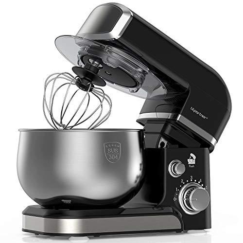 Lilpartner Küchenmaschine Rührgerät, 1000W elektrischer Rührmaschine, 6-Gang-Teigmischer mit Kippkopf - 3,5L Edelstahlschüssel, Teighaken, Schläger Mischen, Schneebesen, Abstreifer & Spritzschutz