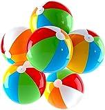 Top Race Aufblasbare Wasserbälle Jumbo 24 Zoll für Pool, Strand, Sommerpartys und Geschenke   6er Pack Blow up Regenbogen Farbe Beach Ball (6 Bälle)