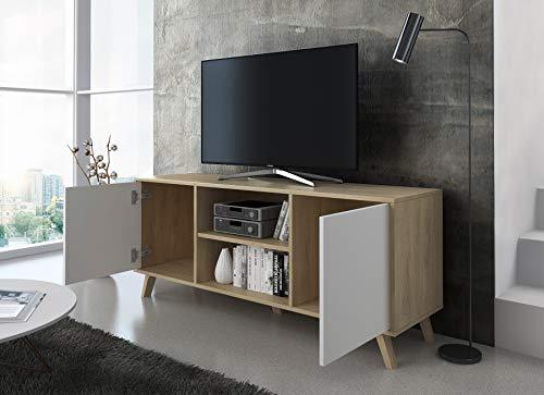 Skraut Home - Meuble TV 140 avec 2 Portes, Salon, modèle Wind, Structure Couleur Puccini, Portes Couleur Blanche, Mesure 140x40x57cm Hauteur.